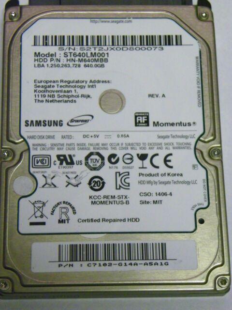 "Samsung ST640LM001 P/N HN-M640MBB Laptop 640GB 2.5"" SATA Hard Drive"