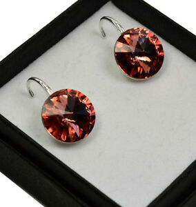 Sterling Silver Earrings made with Swarovski Crystals Bush Rose 12mm