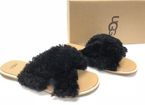 b01c9e7d79d Details about UGG Australia BLACK CURLY SHEEPSKIN LEATHER JONI SLIDE  SANDALS WOMEN'S 1019967