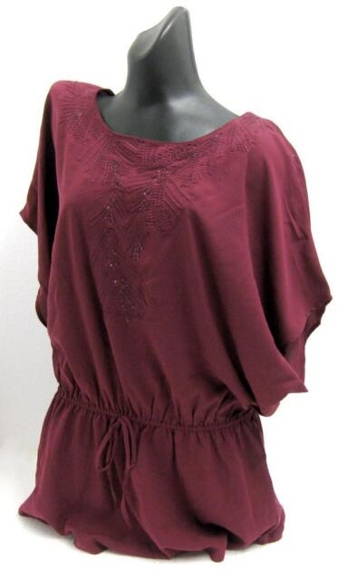Matalan - Papaya Ladies Summer Casual Embroidered BURGUNDY Blouse / Top