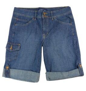 Bandolinoblu Womens Sz 10 MED Blue Jean Denim Skimmer Shorts Cotton Stretch
