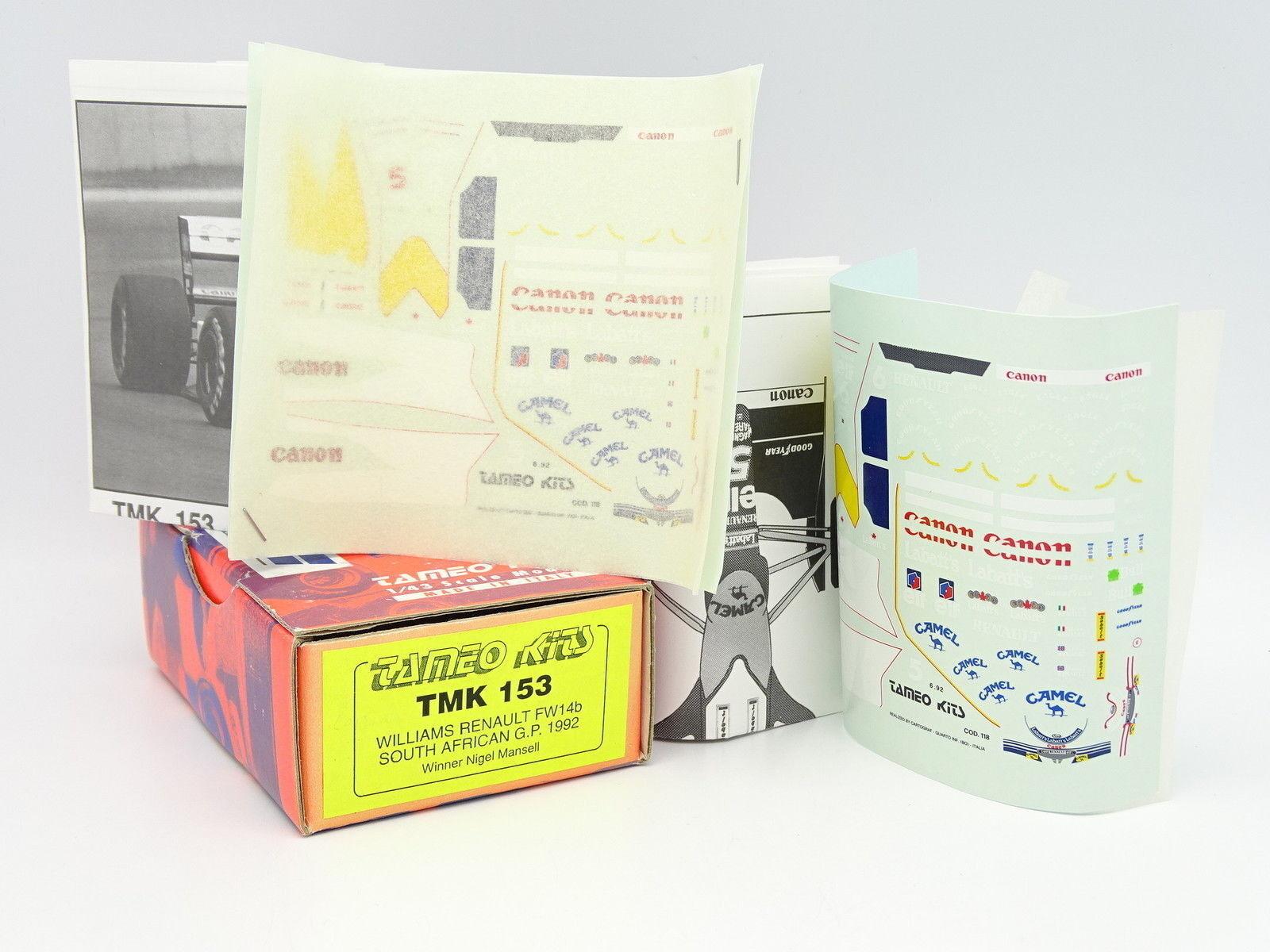 Tameo kit to mount 1 43 -  f1 williams renault fw14b s african gp 92 camel tmk153  tous les produits sont spéciaux