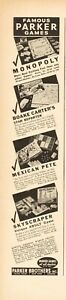 1937 Parker Brothers Salem MA Monopoly Bloake Carter's Skyscraper Board Games Ad