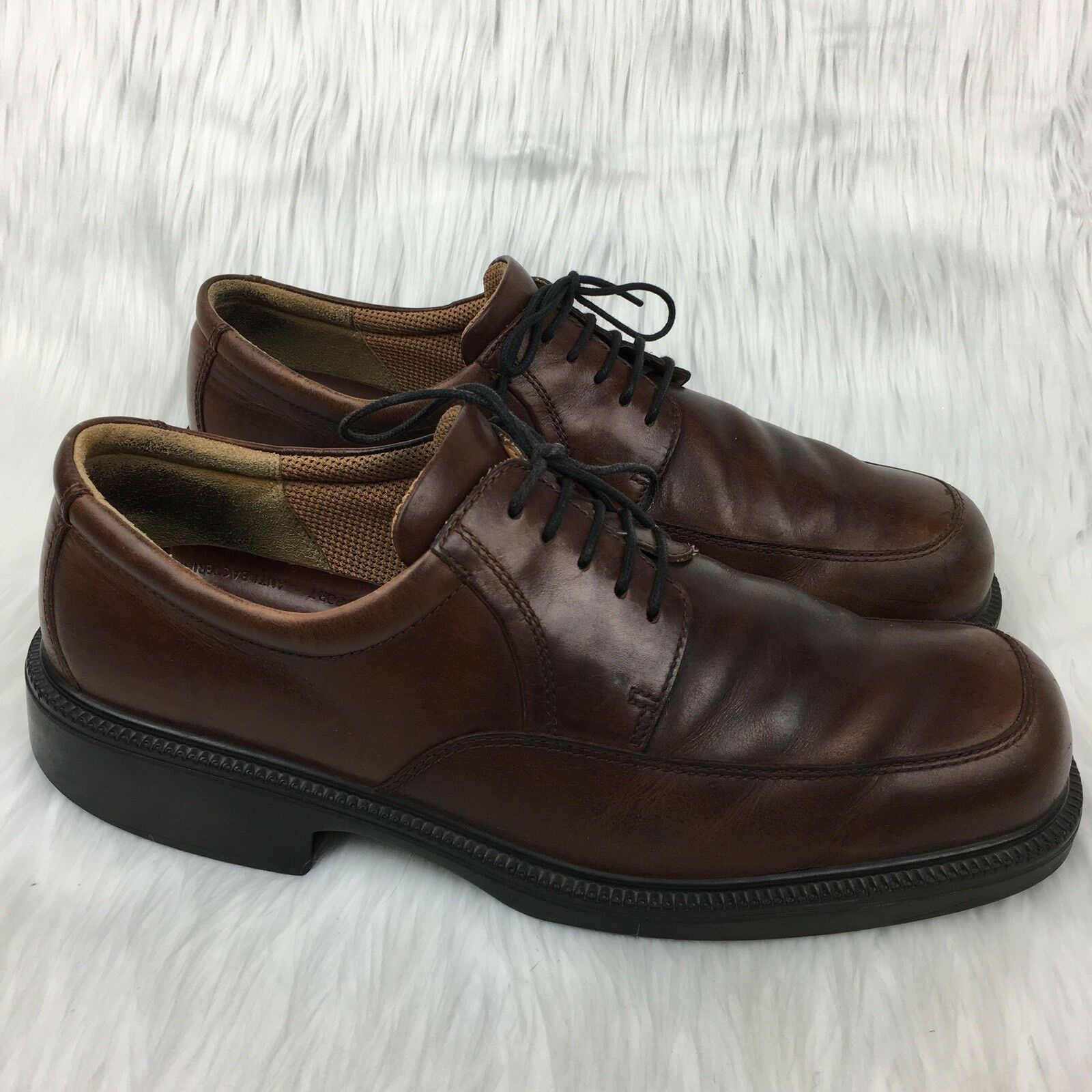 Ecco 46 12 new shoes shoes Derby Leather Dark Brown Career Apron Toe Lace Up Oxfords