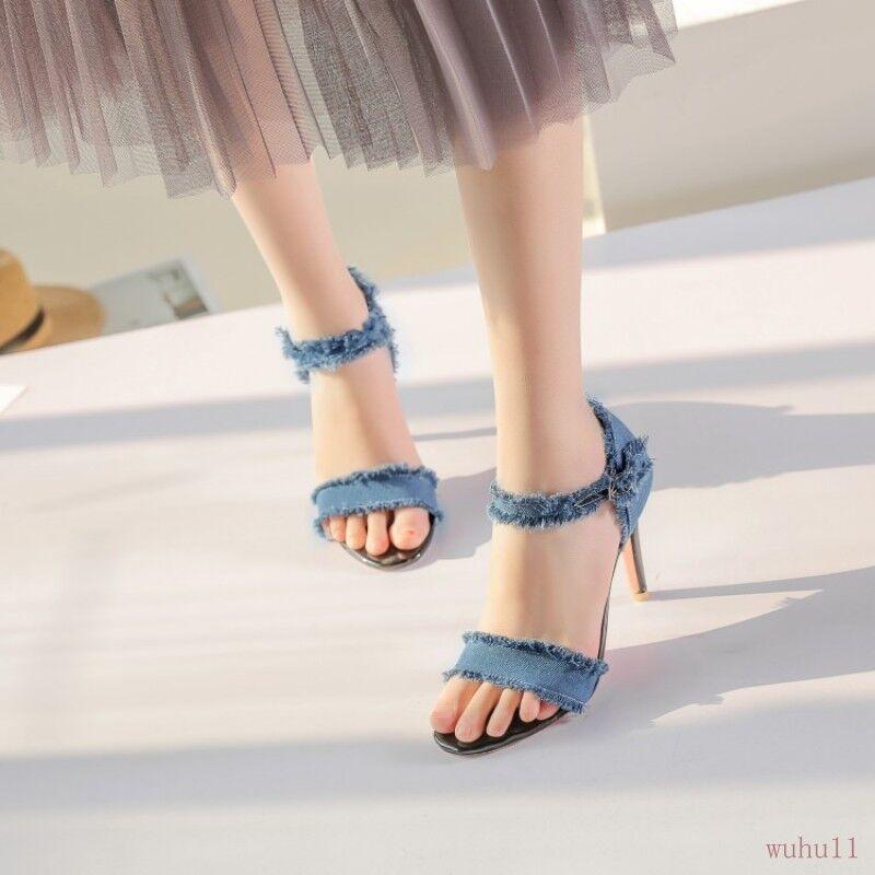 Women Denim Strap Stiletto Leisure Summer Sandals Leisure Stiletto Stylish Shoes Jean Party hot b4dd06