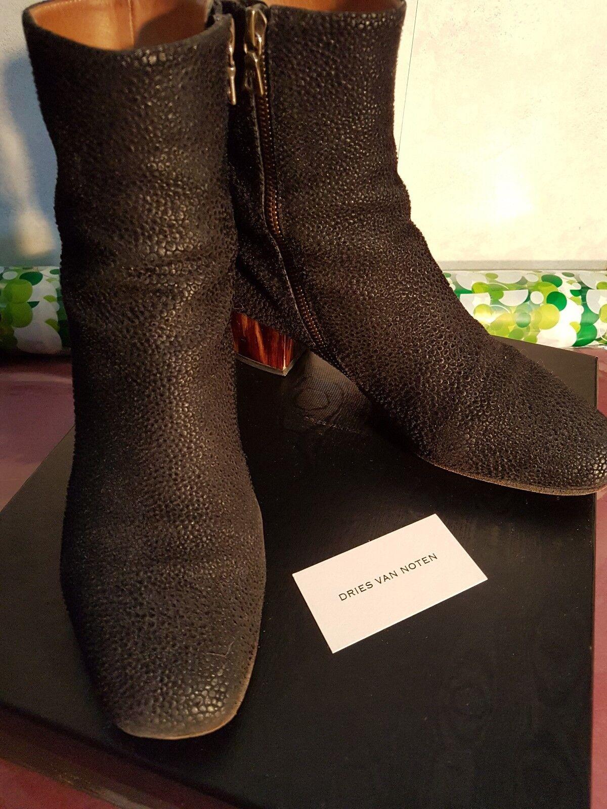 Dries Van Noten noir PONYSKIN bottines en cuir en boîte  Taille UK 4.5 37.5.