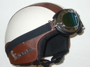 Helm D-Jet Helmet Capacete IN Kunstleder Und Brille Brown Beige Vespa Gr L