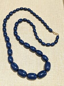 Vintage-Gold-Tone-Navy-Blue-Acrylic-Bead-Necklace-Graduated