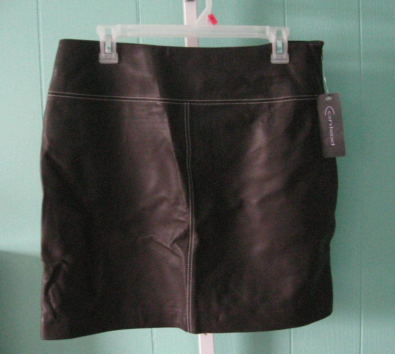 CONTEXT  186 Dark Brown Genuine Leather A-Line Knee Length Skirt sz 10 NWT
