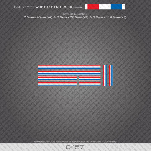 0457 French Separation Stripes Bands Bicycle Decals Stickers White Edges