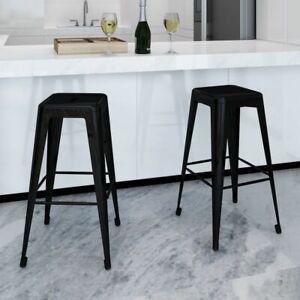 Sedie Da Cucina In Acciaio.Vidaxl 2x Sgabelli Da Bar Quadrati Neri Acciaio Con Poggiapiedi