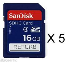 Lot qty 5 of Sandisk 16GB Class 4 SD SDHC Secure Digital Flash Memory Card Refur