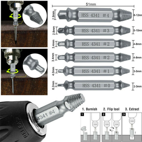 6x Damaged Screw Extractor Speed Out Drill Bits Tool Set Bro