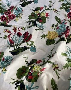 Vintage MCM Barkcloth Floral Branch Print Drapes 1 Panel + 6' Fabric DIY Home