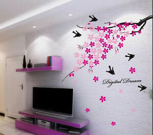 936 | Wall Stickers Wall Decor Pink Flower Branch with Birds
