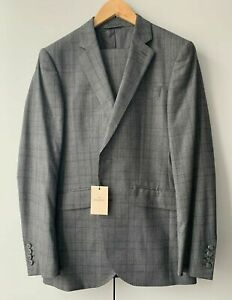 d34fbe275 Details about New Hackett Men's Suit Mayfair Travel Check Grey Check Loro  Piana 38 L RRP £800