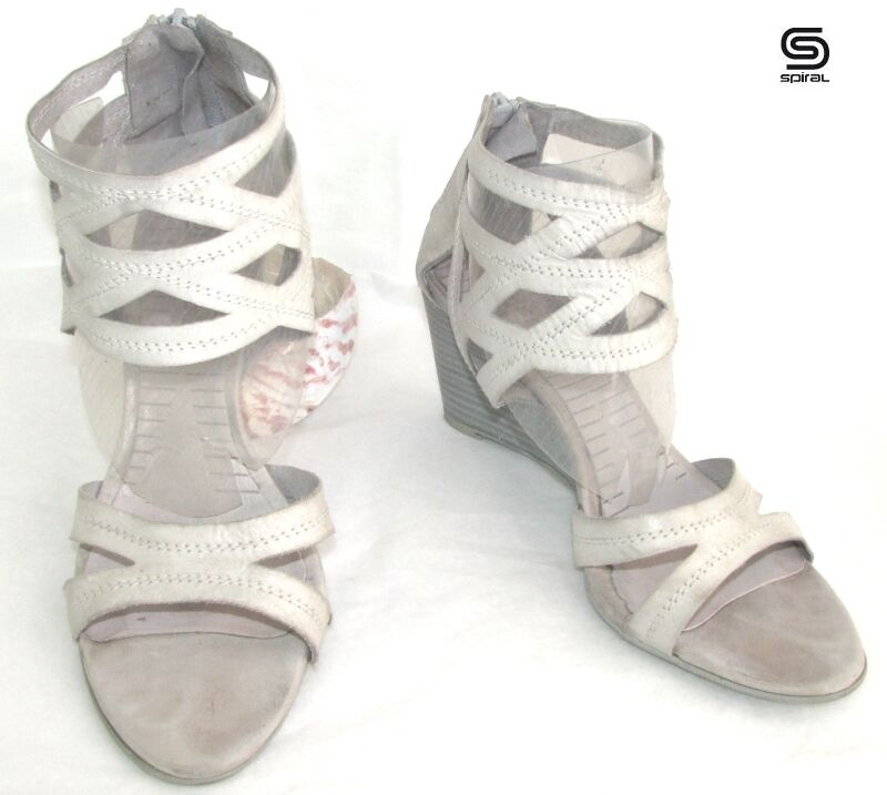 SPIRAL SANDALS SOLE COMPENSATED 7 CM LEATHER GREY CHALK 40 VERY GOOD CONDITION