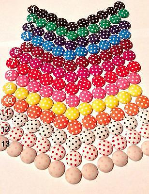 30 POLKA DOT STRAWBERRY WOOD BUTTONS 12mm Crafts~Sewing~Cards~Jams UK 84E