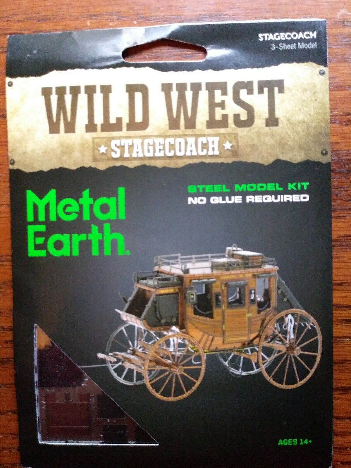 Stagecoach Revolver More Metal Earth Set of 3 Wild West 3D Steel Model Kits