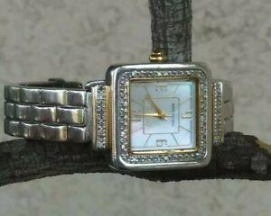 "Ecclissi Diamond Bangle Watch MOP Dial Twotone 5 1/2"" Wrist Sterling 46g"
