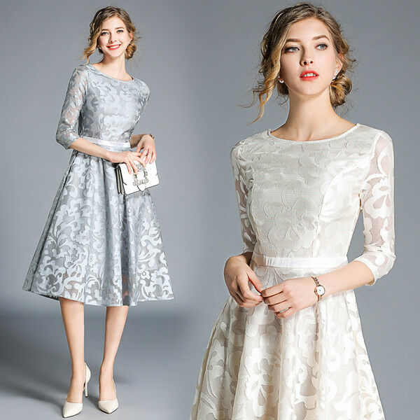 Élégant dress gown short grey grey grey white swing coloured slim soft 4779 59a09e