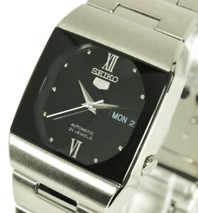 New-Seiko-5-Men-039-s-Solid-Black-Face-Retro-Dress-Automatic-Watch-SNY011J1