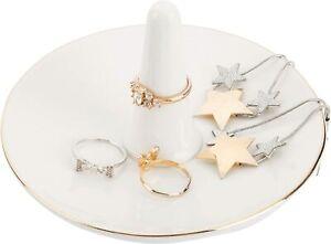 MyGift Modern White Ceramic Jewelry Dish Ring Tray Trinket Holder with Gold Trim