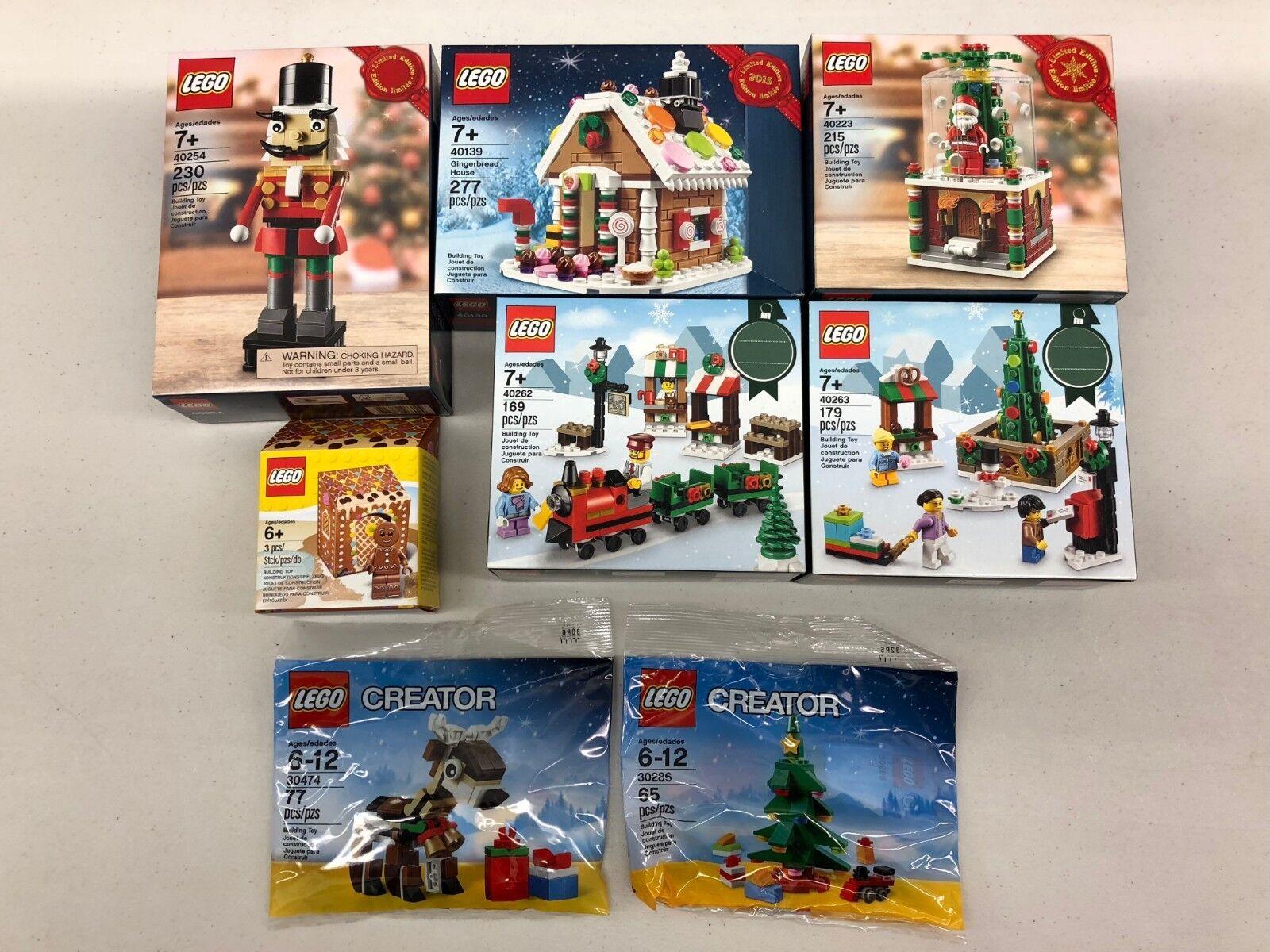 LEGO Christmas Holiday Bundle  40253, 40139, 40223,  40262, 40263, 30474, 20386  design simple et généreux