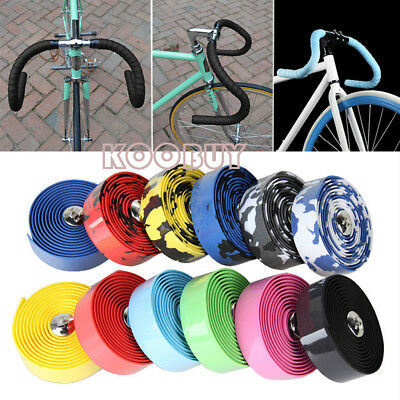 Road Bike Cycle Bicycle Handlebar Cork Bar Grip Ribbon Wrap Tape+2 Bar Plug NEW