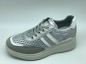Dettagli su Sneakers Igi&co 5166855 grigio e argento zeppa 5 cm Made in Italy