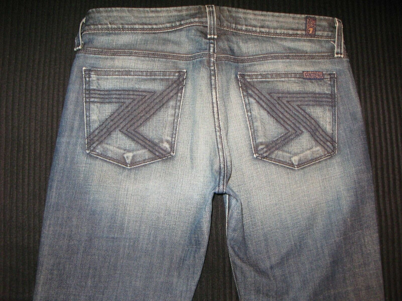 7 For All Mankind Women Flynt Jeans Sz 29 Stretch Dark Distressed