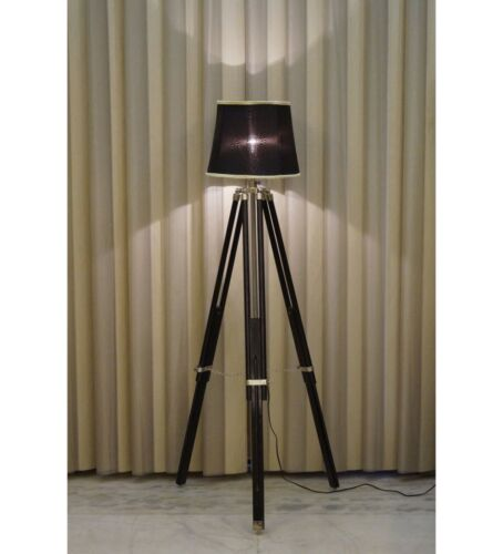 Wooden Tripod Stand Nautical Designer Floor Lamp Home Decor Use Without Shade