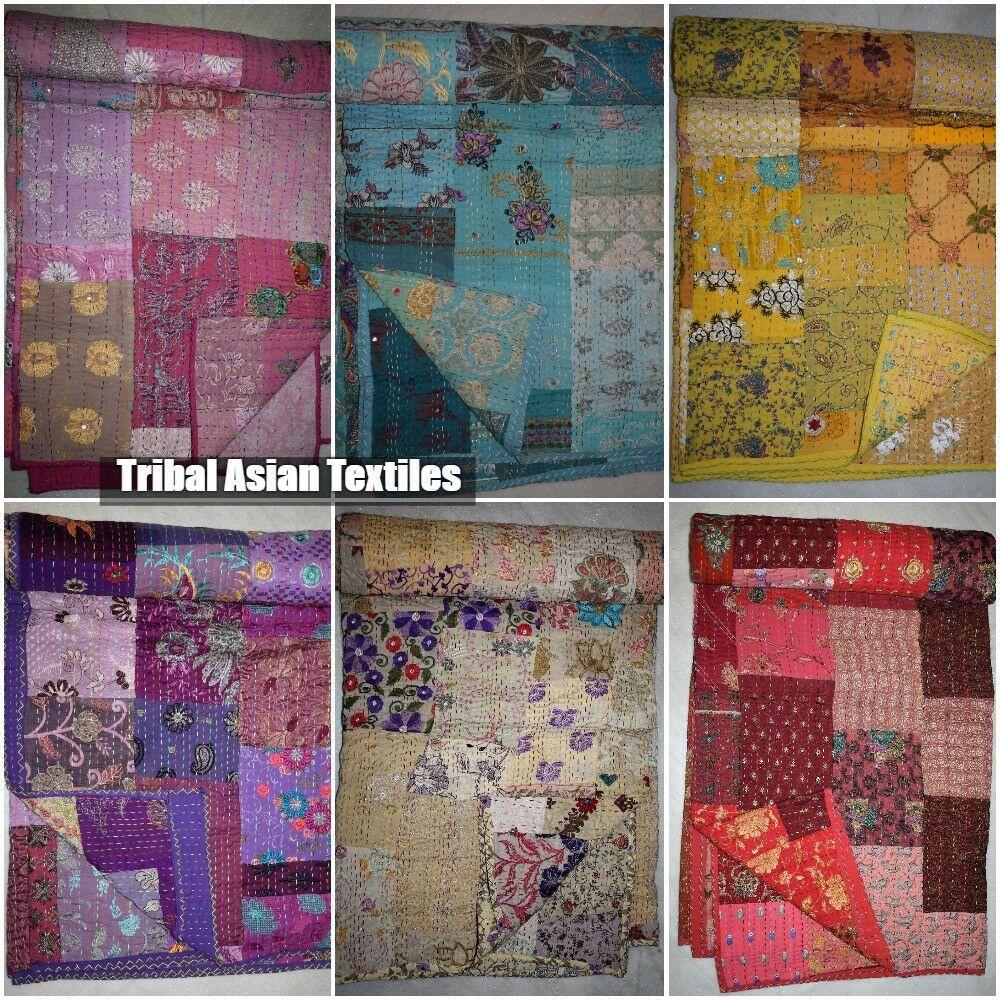 Cotton Sari Kantha Quilted Patchwork Bedspread Vintage Quilt Old Patola Indian