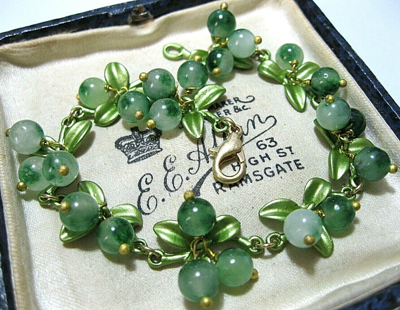 Gorgeous Vintage Style Art Deco Real Agate Stone BEAD Berries Enamel BRACELET