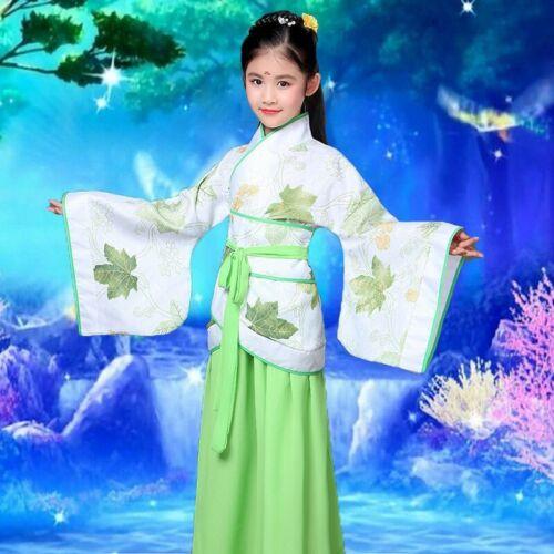 Kids Girls Wedding Party Slik Dress Chinese Tang Ancient Costume Dress Cosplay
