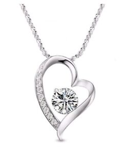 Image Is Loading PRETTY GIFT PRESENT Crystal Silver Heart Necklace BIRTHDAY
