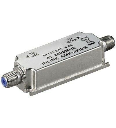 Amplificador TV Linea 20dB Satelite y MATV Goobay Alimentado por el receptor