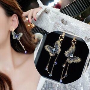 Fashion-Embroidery-Butterfly-Earrings-Long-Tassel-Crystal-Pearl-Ear-Stud-Dangle