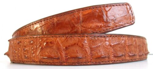 "Genuine Real Backbone Crocodile Alligator Skin Leather Men/'s Tan Belt 35-45/"""