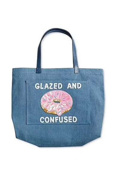 a8bd72336ab Macy s Bow   Drape Denim Tote Bag Donut Glazed and Confused Extra Large