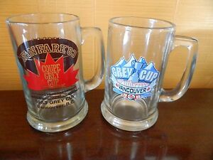 2 GREY CUP Steins glass 1983 & 1999 BC -lce Vancouver
