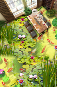 3D Fishs Pond Lotus 4 Floor WallPaper Murals Wall Print 5D AJ WALLPAPER UK Lemon