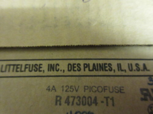 10 fusibles par vente uk stock! Pico fuse axial 4A 125v littlefuse made in usa