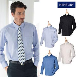 HENBURY-Para-hombres-Mangas-Largas-Camisa-Ligera-Oxford-H550-Camisa-Formal-de-desgaste-de-la-oficina