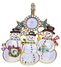 KIRKS FOLLY SEAVIEW MOON SNOWMEN CAROLERS MAGNETIC ENHANCER goldtone snowman