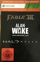 Downloads Von Spiele Vollversionen Xbox 360 Fable Iii 3 + Alan Wake + Halo Reach