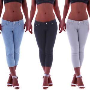Damen Caprijeans Capri Jeans Hose Hüftjeans Dunkelblau Bermudas Shorts D111 Damenmode