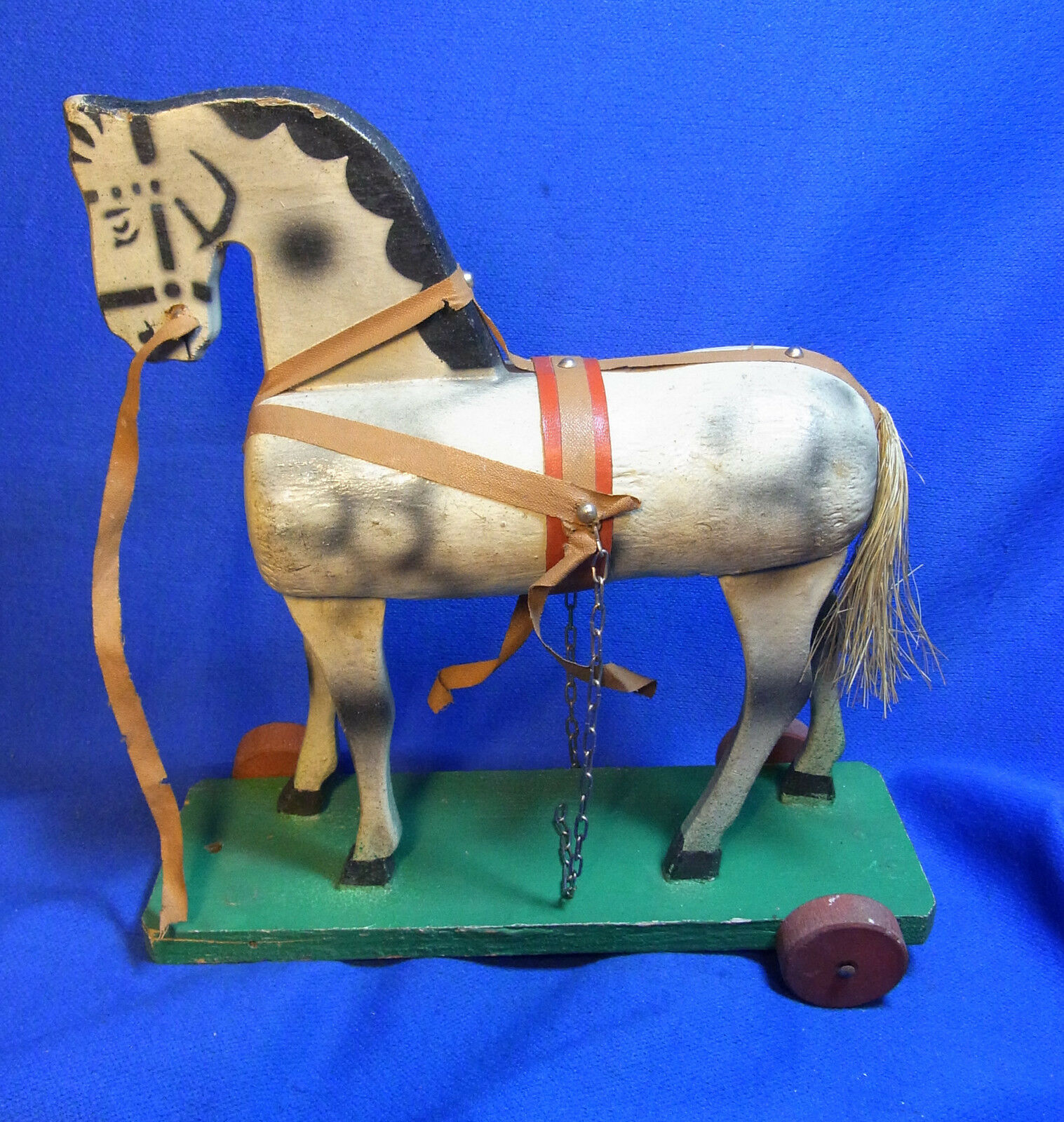 Antique German Wood Carved Pull Toy Horse  L