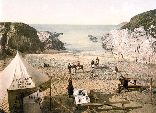 Vintage Edwardian Seaside Photochrome Photo Reprint Mortehoe,Devon A4