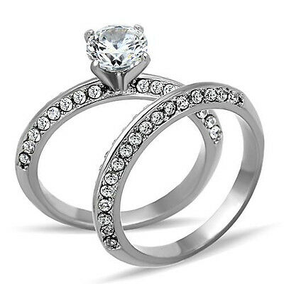 Round Solitaire Wedding Ring Set Engagement CZ Stainless Steel